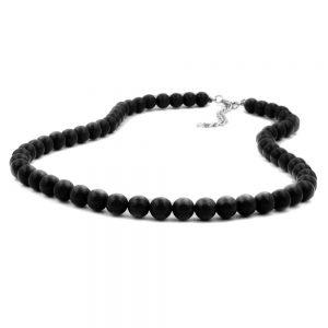 Collier perles 8mm noir argent 40cm 01486 40xx