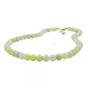 Collier perles 8mm vert blanc 40cm 01497 40xx