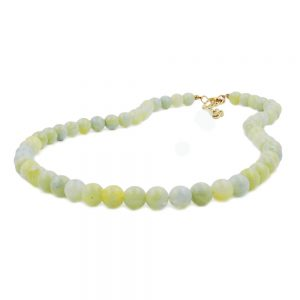 Collier perles 8mm vert blanc 50cm 01497 50xx