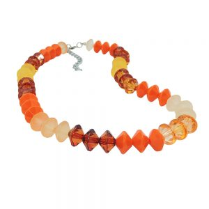 Collier perles a facettes couleur orange perles argentees 01326xx