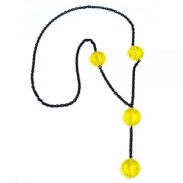 Collier perles accrocheur jaune 90cm 02336xx