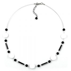 Collier perles blanc noir 01887xx