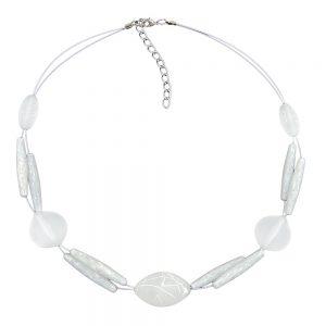 Collier perles blanches givrees sur fil souple enduit de blanc 01265xx