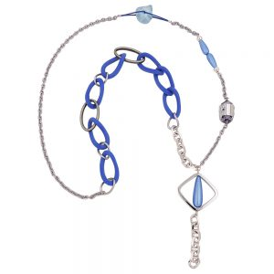 Collier perles bleues maillons 01083xx