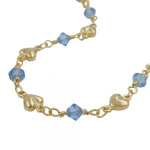 Collier perles bleues  plaque or 230036 42xx