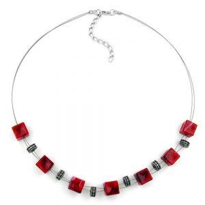 Collier perles cube rouge 45cm 02786xx