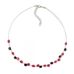 Collier perles de verre cube perles rose et marron 00657xx