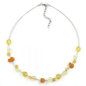 Collier perles de verre jaune et orange sur fil souple enduit 05184xx