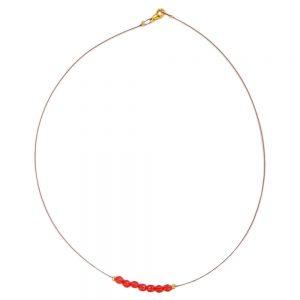 Collier perles de verre jaune sur fil flexible enduit 06984xx
