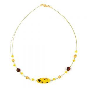 Collier perles de verre olive jaune marron 00175xx