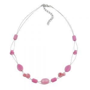 Collier perles de verre rose 02537xx
