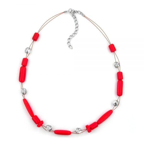 Collier perles de verre rouge et argent miroir 00513xx