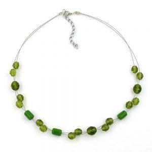 Collier perles de verre vert 43cm 02553xx