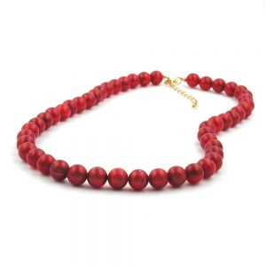 Collier perles framboise rouge 8mm 50cm 00869xx
