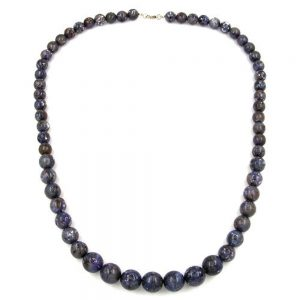 Collier perles gris  lilas 02089xx