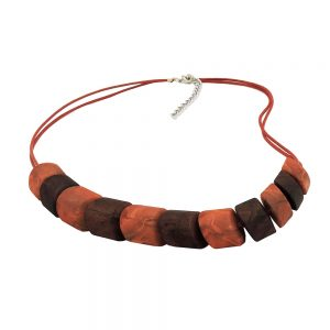 Collier perles inclinees melangees marron 02304xx