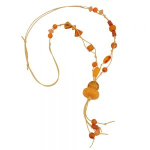 Collier perles jaune orange 01087xx