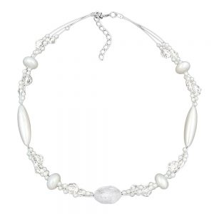 Collier perles kroko blanc perles blanches givrees et nacrees 01301xx