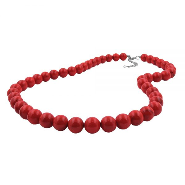 Collier perles marbrees rouge fonce 12mm 70cm 00338 70xx
