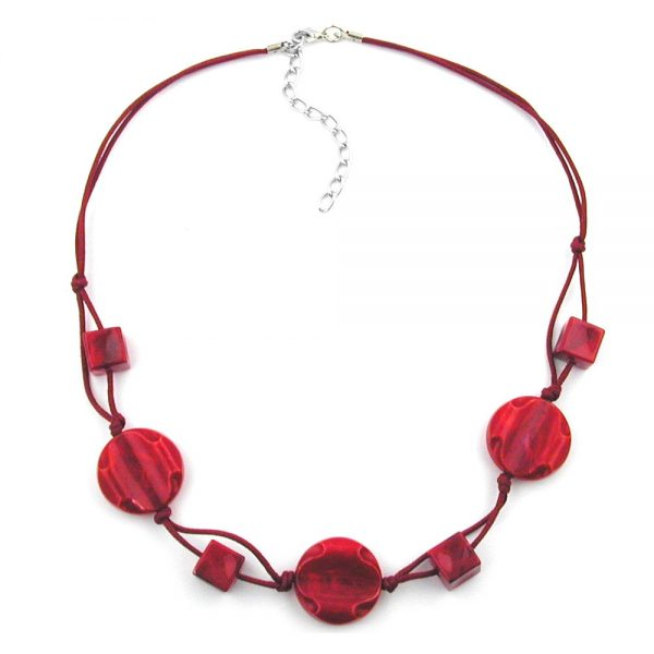 Collier perles marbrees rouges cordon noue rouge 00525xx