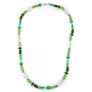 Collier perles menthe soie 90cm 04992xx