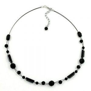 Collier perles noires 43cm 02509xx