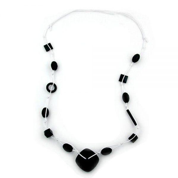 Collier perles noires cordon blanc 00242xx