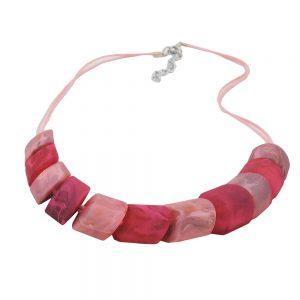 Collier perles obliques rose melange 02647xx