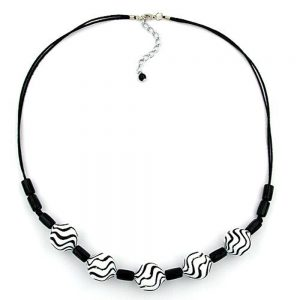 Collier perles ondulees noir blanc 50cm 00552xx