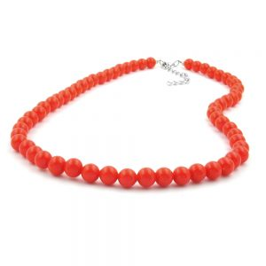Collier perles orange rouge 8mm 70cm 01492 70xx