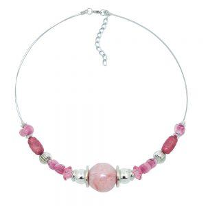Collier perles roses et argentees sur fil souple enduit 01344xx