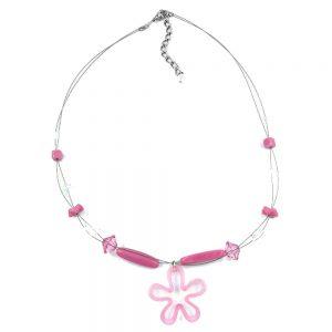 Collier perles roses et pendentif fleur sur fil souple enduit 03336xx