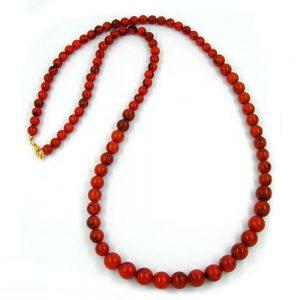 Collier perles rouge 80cm 01161xx