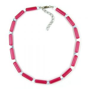 Collier perles rouge  blanc soyeux chatoyant 01145xx
