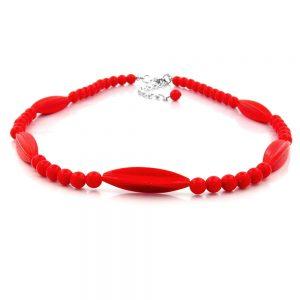 Collier perles rouges 42cm 00607xx