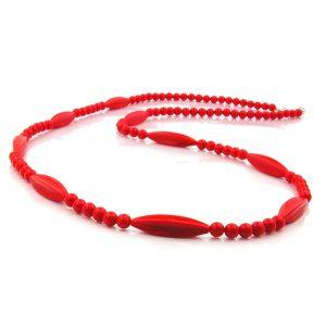 Collier perles rouges 80cm 00609xx