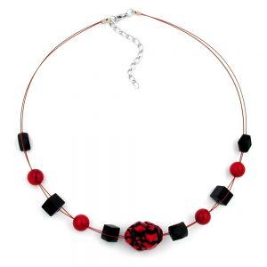 Collier perles rouges et noires sur fil flexible enduit 00456xx