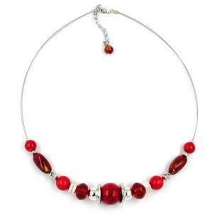 Collier perles soyeuses sur fil souple enduit 50cm 04617xx