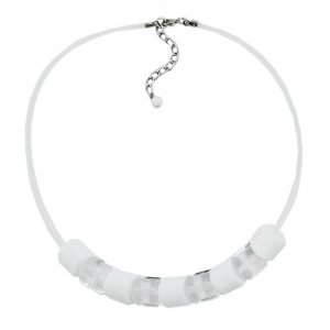 Collier perles transparent blanc 02822xx
