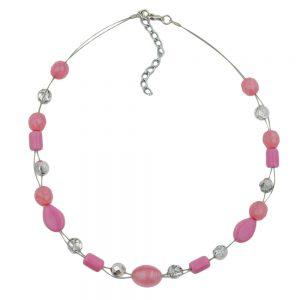 Collier perles transparentes roses sur fil souple enduit 00918xx