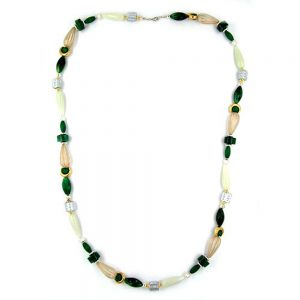 Collier perles vert menthe et argent 90cm 04995xx