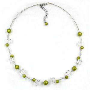 Collier perles vertes olive soyeuses 02468xx