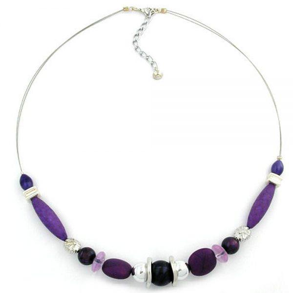 Collier perles violettes sur fil souple enduit 49cm 00615xx