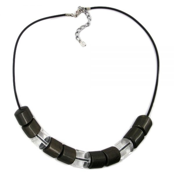 Collier pierre perle marron gris 100cm 02254xx