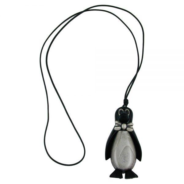 Collier pingouin noir antique argent 90cm 00238xx