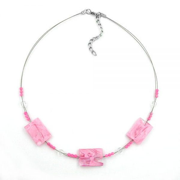 Collier rectangle perles rose marbre 45cm 00355xx
