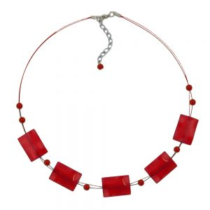 Collier rectangle perles soyeux rouge 02672xx