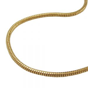 Collier rond serpent chaine plaque or 219005 40xx