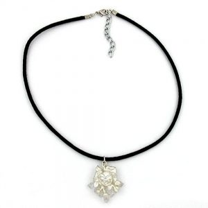 Collier rose argente  finition mate 01485xx