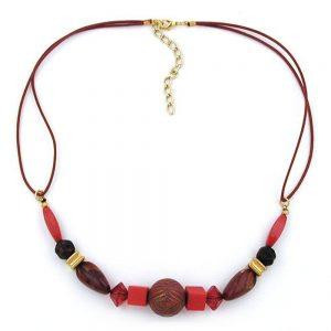 Collier rouge  dore et perles marbrees 00800xx